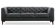 Load image into Gallery viewer, Slate Grey Leather Tufted Sofa