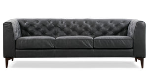 Slate Grey Leather Tufted Sofa