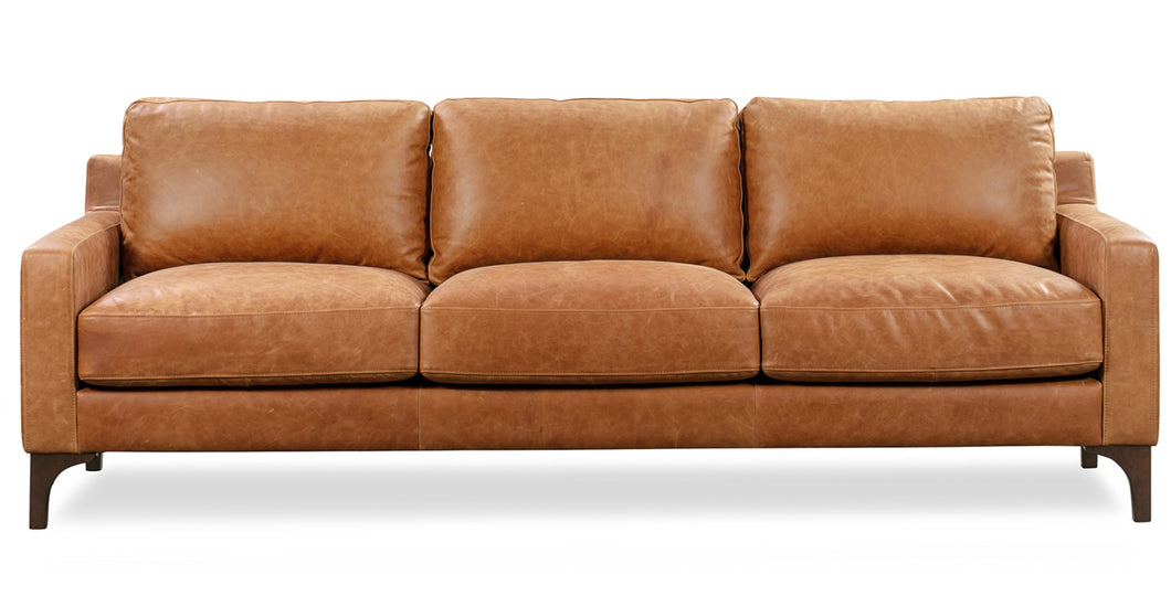 Cognac Tan, Italian Leather Sofa