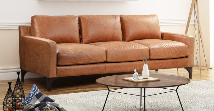 Full Grain Tan Leather Sofa