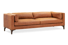 Load image into Gallery viewer, Cognac Tan Leather Couch