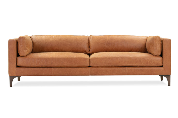 Cognac Tan, Contemporary Leather Sofa