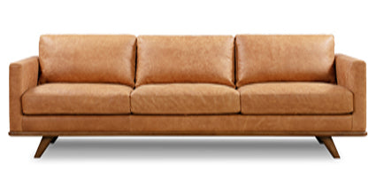 Cognac Tan, Mid Century Modern Couch