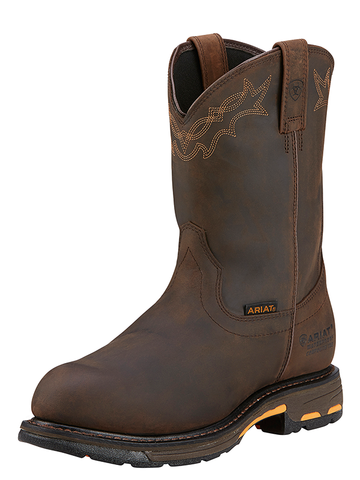 Ariat Workhog Pull On H2O/Composite Toe - Oily Distressed Brown