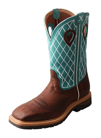 Twisted X MLCS021 Brown Distressed/Turquoise Steel Toe