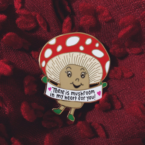 Mushroom in My Heart Lapel Pin