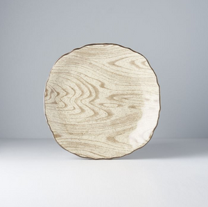 Light Faux Wood Dinner Plate