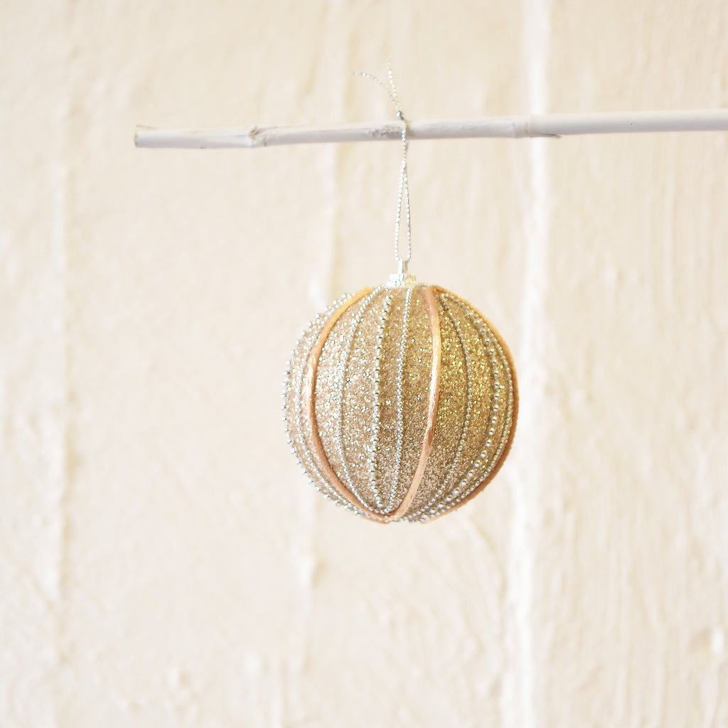 Gold Glitter Hanging Christmas bauble