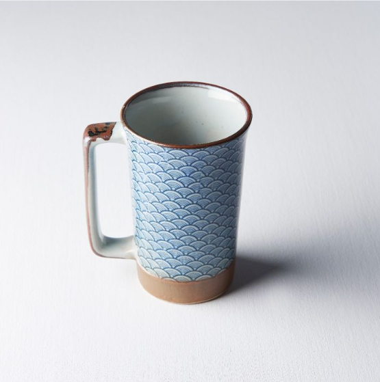 Indigo Wave Large Mug with Handle