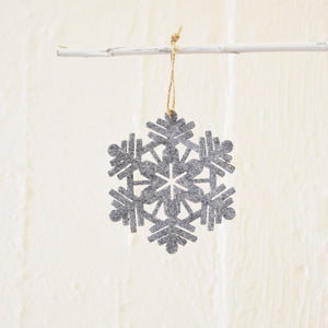 Felt Snowflake Hanging Decoration in Grey