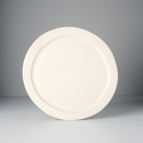 Craft White Round Offcentre Plate with Wide Rim