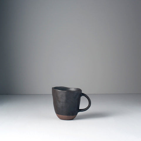 Black and Bisque Lopsided Handle Mug