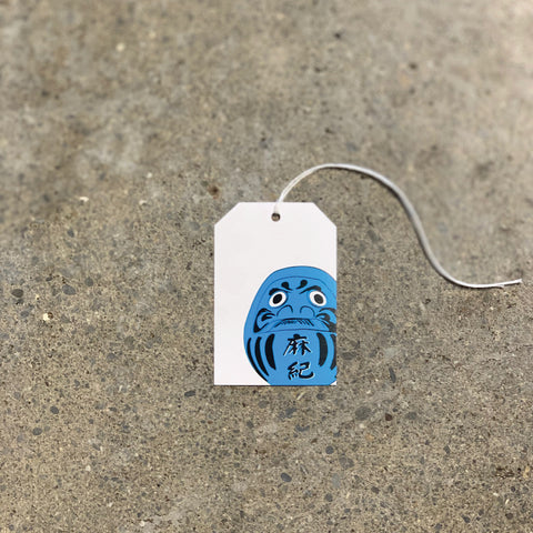 Blue Daruma on White Gift Tag