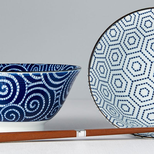 2PC Blue and White Bowl Set