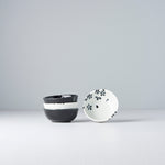 4 PC Black & white Sakura Sauce Dish Set
