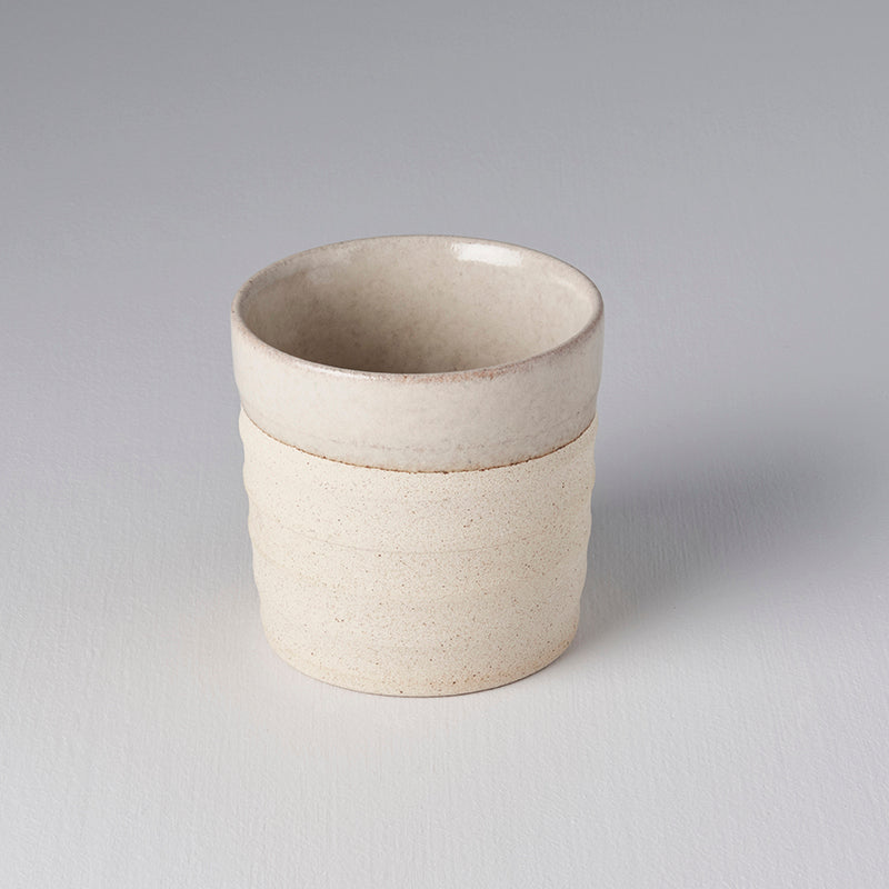 Grooved Mug in Grey & Light Clay Base