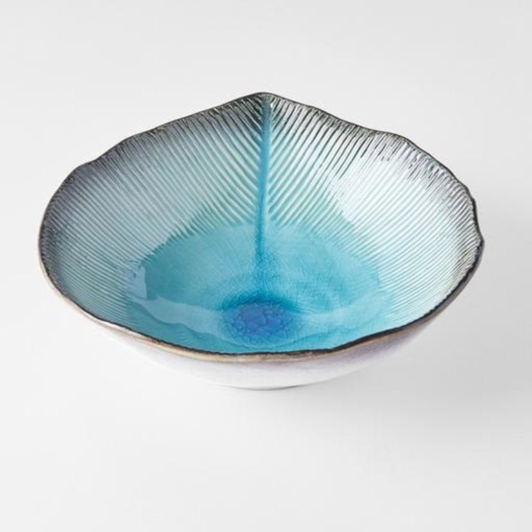 Sky Blue Ridged Off Centre Bowl