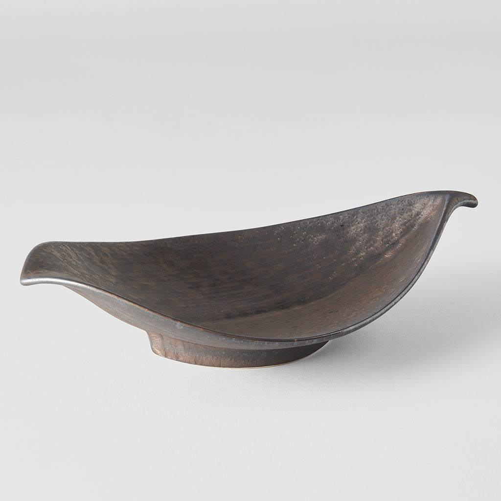 Deep Bronze Ikebana Leaf Shape Bowl