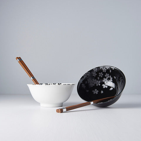 2PC Sakura Black and White Bowl Set