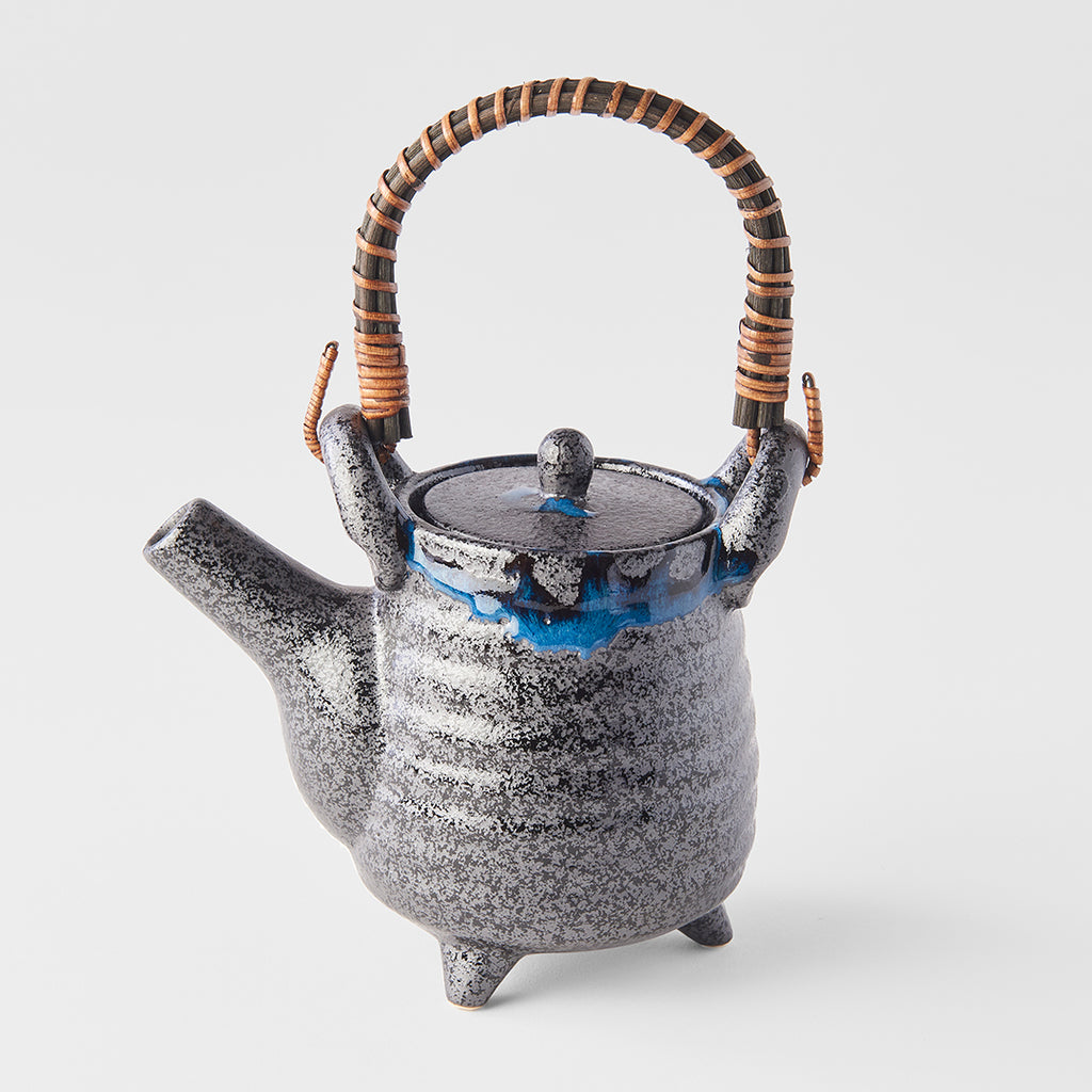 Dry Black With Cobalt Blue Drip Tall Teapot With Feet