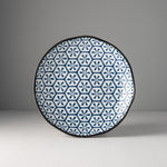 Indigo Ikat Hexagon Flower Uneven Plate