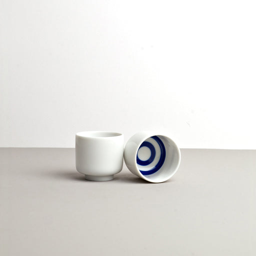 White with Blue Target Inner Sake Cup