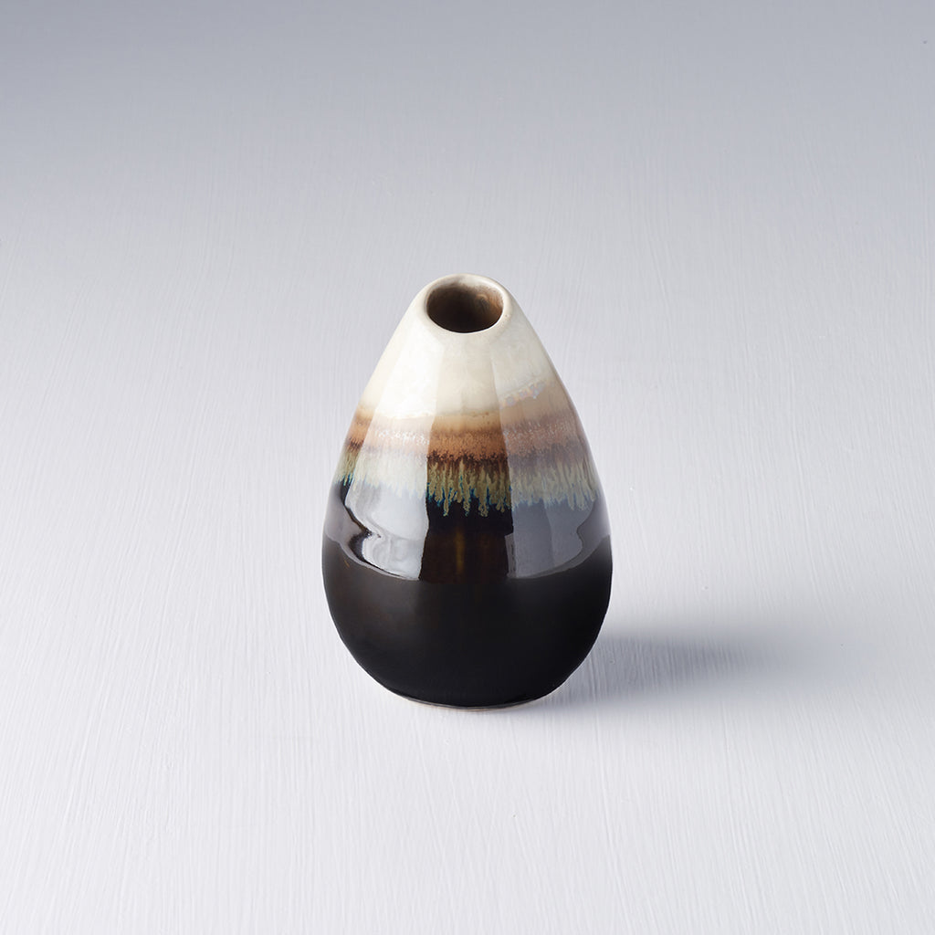 Brown With Cream Drip Teardrop Vase