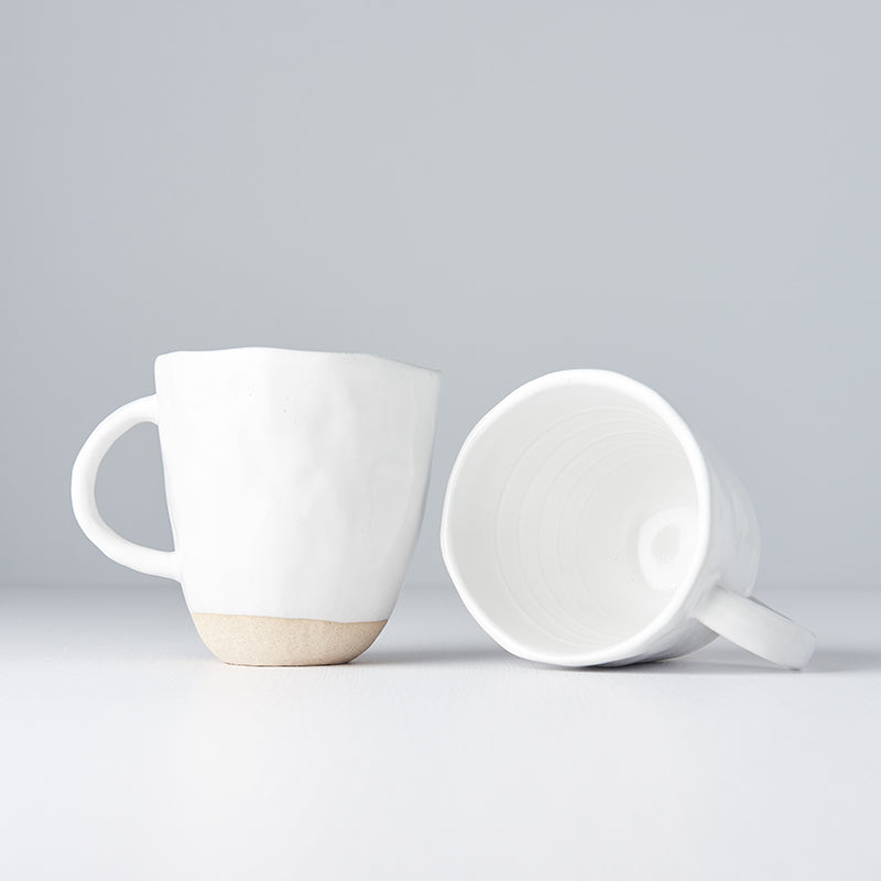 White Lopsided Mug with Handle