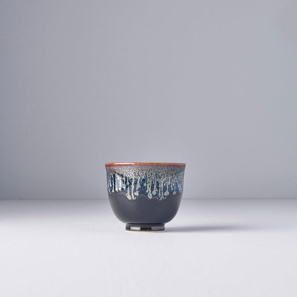 Black with Bright Blue Drip Tea Cup