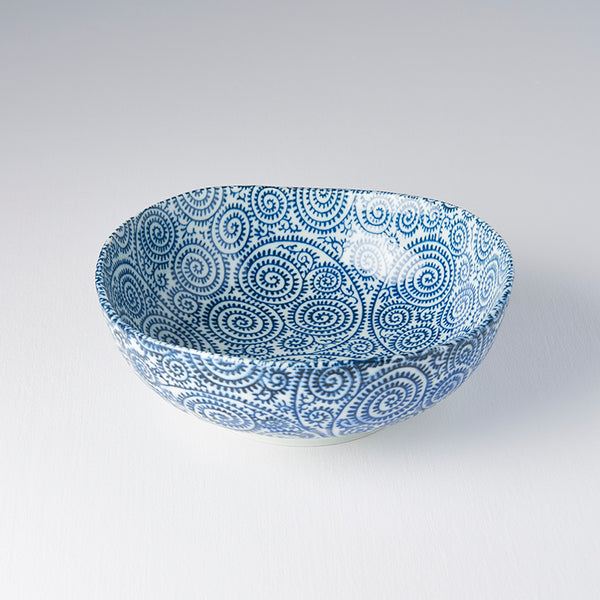 Blue Scroll Large Uneven Bowl