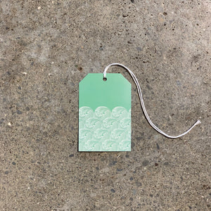 Wave on Green Gift Tag