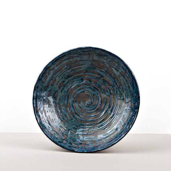 Copper Swirl Large Shallow Bowl