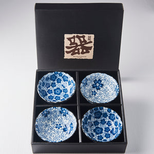 4PC Blue Plum & Cherry Blossom Ramekin Boxed Set