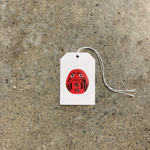 Red Daruma on White Gift Tag