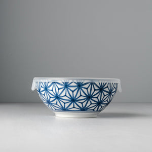 Indigo Ikat Starburst Bowl With Lid