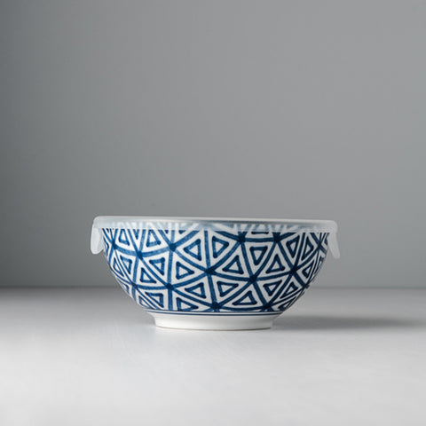 Indigo Ikat Triangle Bowl with Lid
