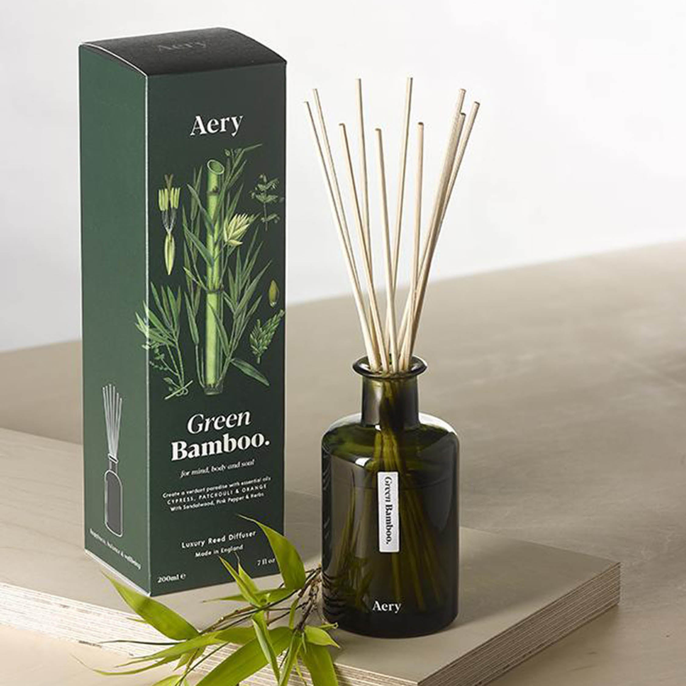 Botanical Green Reed Diffuser in Green Bamboo - Aery Living