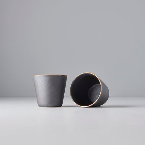 V-Shape Silver/Black Teacup