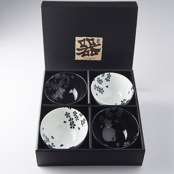 4 PC Black & White Sakura Bowl Set