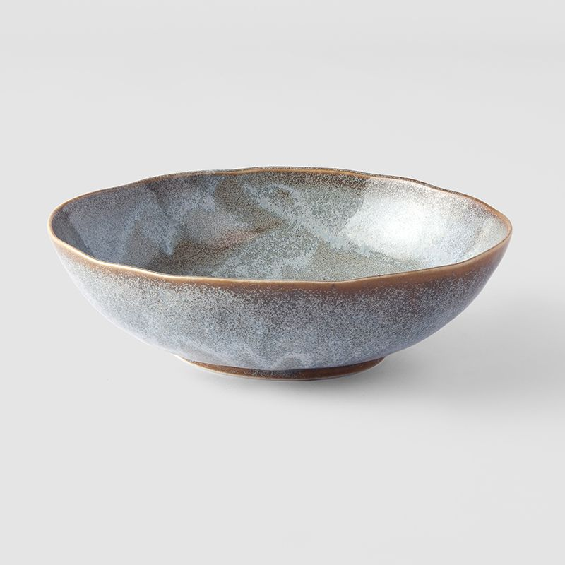 Steel Grey Large Open Oval Bowl