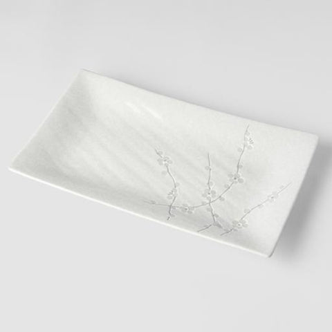White Blossom Rectangle Platter