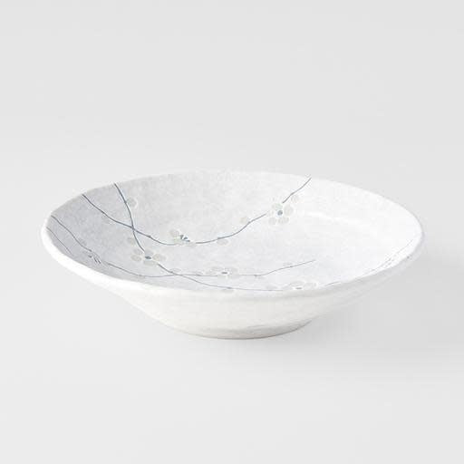 White Blossom Large Shallow Bowl