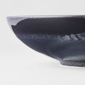 Matte Black with Shiny Edge Open Serving Bowl