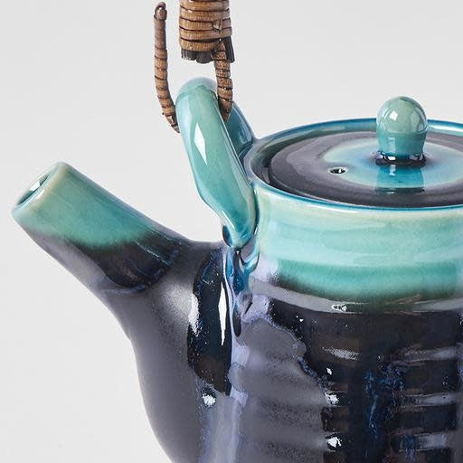 Black & Turquoise Tall Teapot With Feet