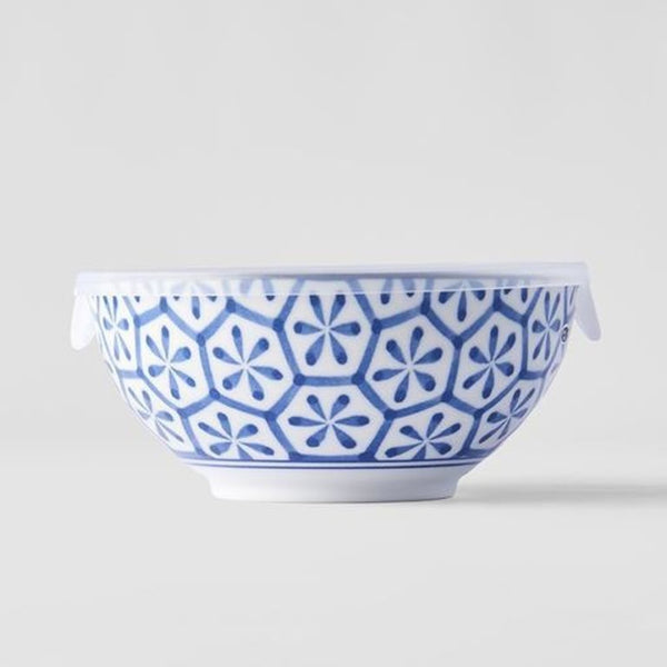 Indigo Ikat Hexagon Flower Bowl with Lid