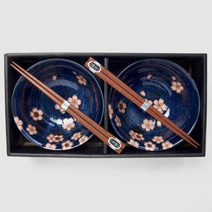 2PC Navy Blue with Pink Sakura Bowl Set