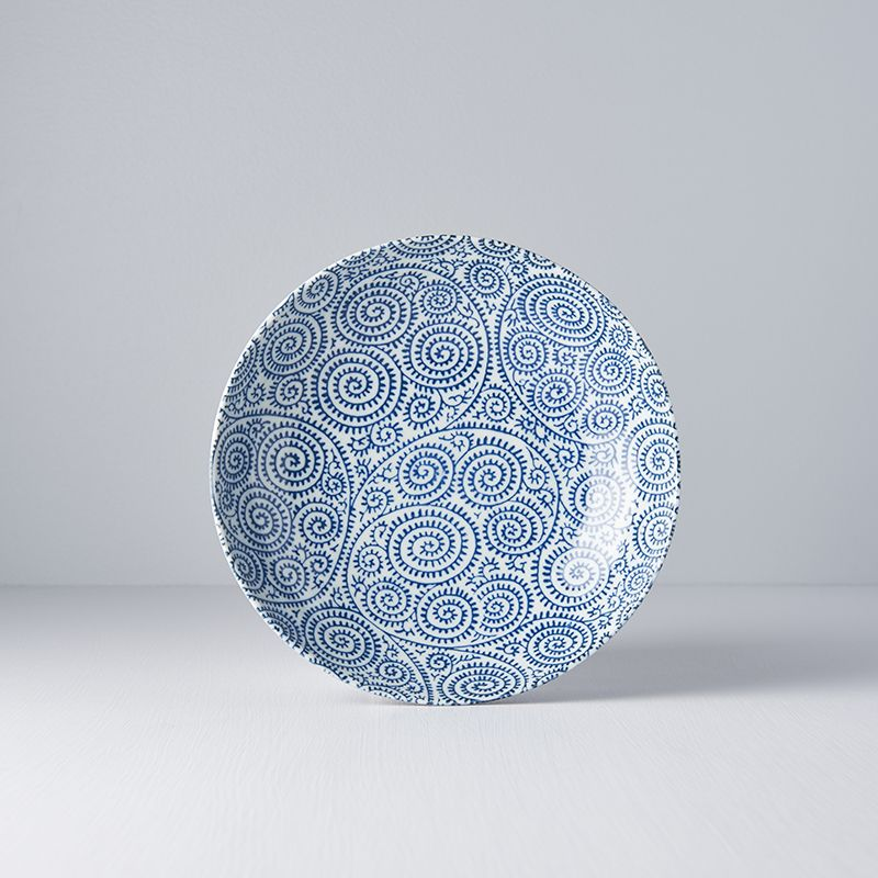 Blue Scroll Shallow Bowl