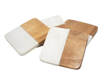 Wood & Marble Coaster Set of 4