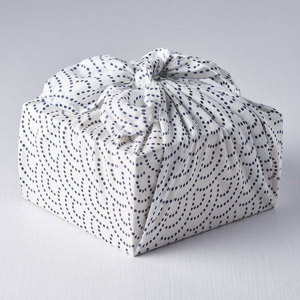 Navy Dot Wave on White Furoshiki Cloth Wrap