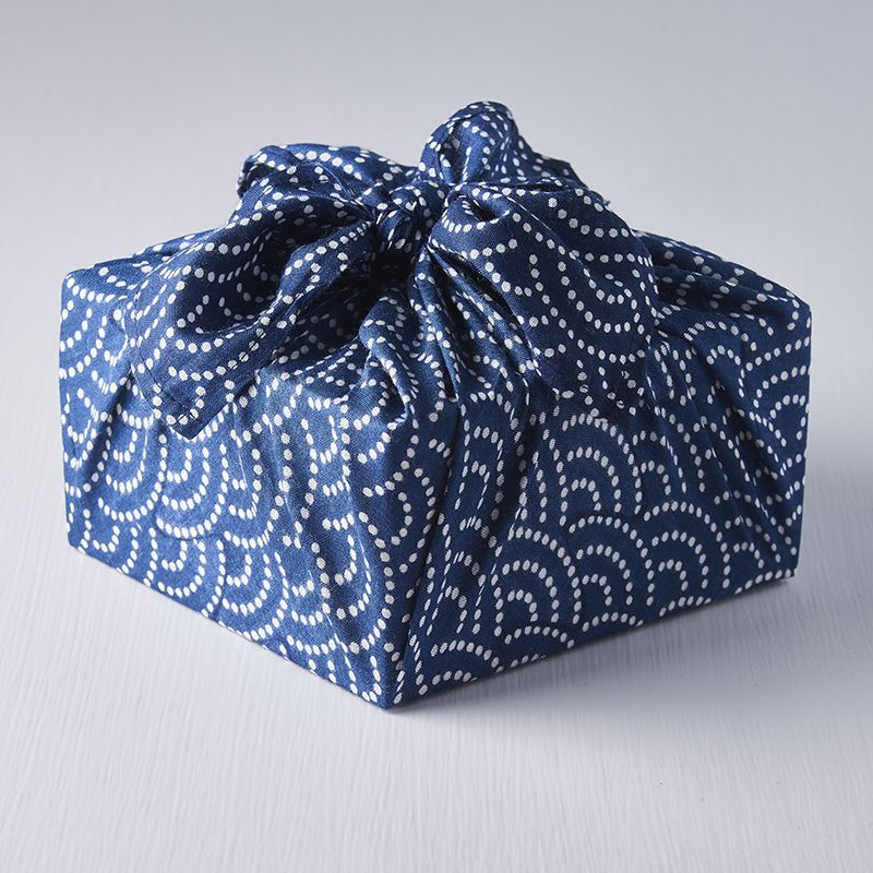 White Dot Wave on Navy Furoshiki Cloth Wrap